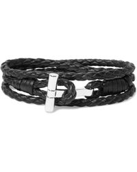 Tom Ford - Woven Leather And Palladium-plated Wrap Bracelet - Lyst