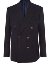 Brioni - Midnight-blue Double-breasted Wool-twill Blazer - Lyst