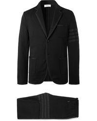 Thom Browne - Black Slim-fit Grosgrain-trimmed Loopback Cotton-jersey Suit - Lyst