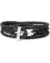 Tom Ford Woven Leather And Palladium-plated Wrap Bracelet - Black