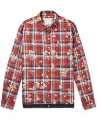 Sacai - Shell-trimmed Bleached Checked Linen Shirt - Lyst