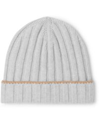 Brunello Cucinelli - Contrast-tipped Ribbed Cashmere Beanie - Lyst