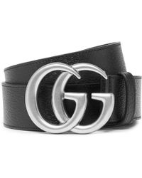 63913245250 Gucci Gg Marmont Black Leather Belt in Black for Men - Lyst
