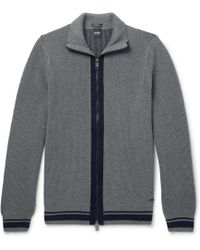 BOSS - Ribbed Virgin Wool Zip-up Cardigan - Lyst