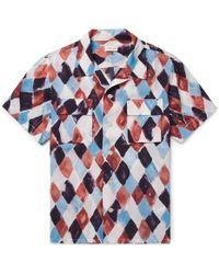 You As - Arlo Camp-collar Printed Woven Shirt - Lyst