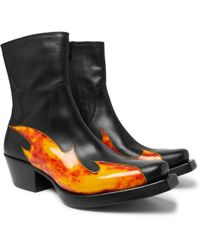 Vetements - Flame-appliquéd Leather Boots - Lyst