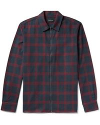 Club Monaco - Checked Cotton-flannel Zip-up Shirt Jacket - Lyst