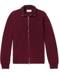 MR P. - Ribbed Merino Wool Zip-up Cardigan - Lyst