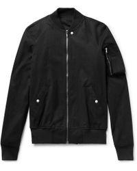 Rick Owens - - Stretch-cotton Canvas Bomber Jacket - Black - Lyst