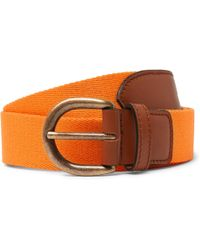 Anderson & Sheppard - 3cm Orange Webbing And Leather Belt - Lyst
