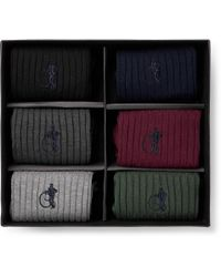 London Sock Co. - Traditional Six-pack Ribbed Stretch Cotton-blend Socks - Lyst