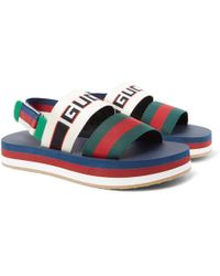 Gucci - Webbing-trimmed Rubber Sandals - Lyst