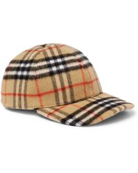43690a58 Burberry - Checked Brushed-wool Baseball Cap - Lyst