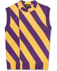 CALVIN KLEIN 205W39NYC - Slim-fit Striped Cotton Sweater Vest - Lyst