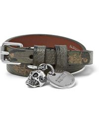 Alexander McQueen - Camouflage-print Full-grain Leather And Silver-tone Wrap Bracelet - Lyst
