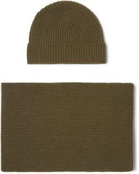 Johnstons - Ribbed Cashmere Scarf And Beanie Set - Lyst