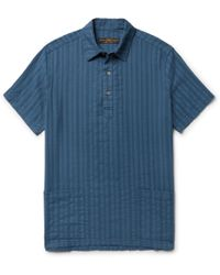 Freemans Sporting Club - Embroidered Cotton-gauze Shirt - Lyst