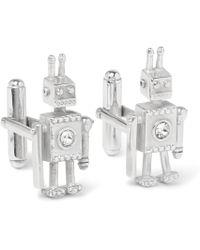 Prada - Robot Silver Crystal Cufflinks - Lyst