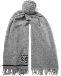 Loewe - Logo-embroidered Fringed Cashmere Scarf - Lyst