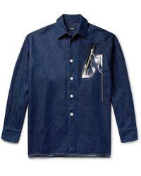 Raf Simons - Oversized Embellished Denim Overshirt - Lyst