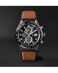 Tag Heuer - Carrera Automatic Chronograph 43mm Brushed-steel And Leather Watch - Lyst