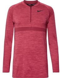 Nike - Mélange Stretch-knit Half-zip Top - Lyst