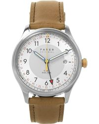 Farer - Barnato Stainless Steel And Leather Watch - Lyst