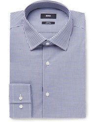 BOSS - Jenno Navy Gingham Cotton Shirt - Lyst