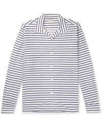 Camoshita - Camp-collar Striped Cotton And Silk-blend Shirt - Lyst