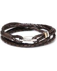 Paul Smith - Woven Leather Wrap Bracelet - Lyst