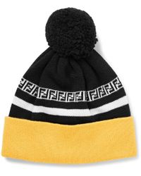 f89b740689c Fendi - Logo-intarsia Ribbed Virgin Wool Beanie - Lyst