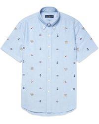 Polo Ralph Lauren - Slim-fit Button-down Collar Embroidered Cotton Shirt - Lyst
