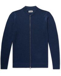 John Smedley - Singular Slim-fit Honeycomb-knit Virgin Wool Zip-up Cardigan - Lyst