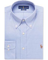 Polo Ralph Lauren - Light-blue Slim-fit Button-down Collar Cotton Shirt - Lyst