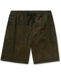 Officine Generale - Printed Cotton-twill Drawstring Shorts - Lyst