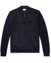 Brioni - Slim-fit Suede And Virgin Wool Bomber Jacket - Lyst
