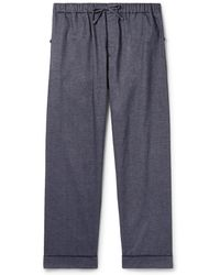 Desmond & Dempsey - Brushed Cotton-twill Pyjama Trousers - Lyst