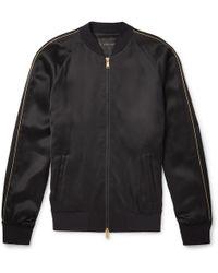 Versace - Crystal-embellished Satin Bomber Jacket - Lyst