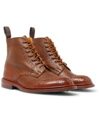 Tricker's - Stow Burnished Textured-leather Brogue Boots - Lyst
