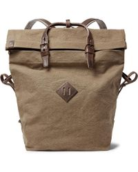 Bleu De Chauffe - Woddy Leather-trimmed Cotton-canvas Backpack - Lyst