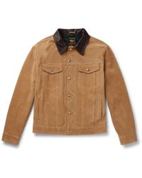 Golden Bear - The Holden Leather-trimmed Suede Trucker Jacket - Lyst