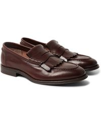 Brunello Cucinelli - Leather Kiltie Loafers - Lyst