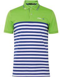 RLX Ralph Lauren - Two-tone Striped Stretch-piqué Golf Polo Shirt - Lyst