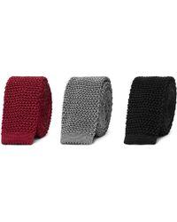 Charvet - Set Of Three 4.5cm Knitted Silk Ties - Lyst