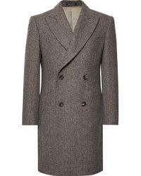 Richard James - Slim-fit Double-breasted Herringbone Wool Coat - Lyst