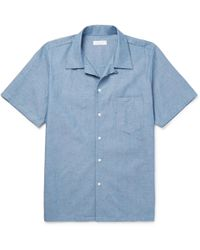 Richard James - Camp-collar Cotton-chambray Shirt - Lyst