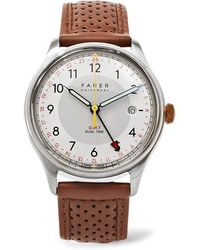 Farer - Barnato Ii Gmt Stainless Steel And Leather Watch - Lyst