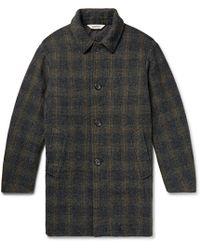 Aspesi - Checked Harris Tweed Coat - Lyst