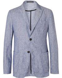 Giorgio Armani - Blue Slim-fit Slub Linen Blazer - Lyst