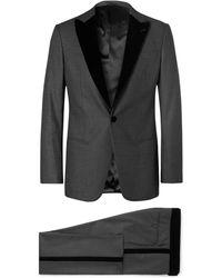 Giorgio Armani - Charcoal Mélange Velvet-trimmed Virgin Wool And Silk-blend Tuxedo - Lyst